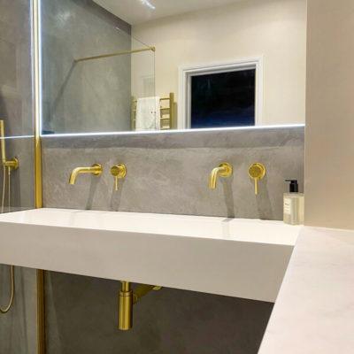 Ensuite Bathroom Refurbishment Northampton Gold Taps and Sink